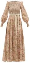 Zimmermann Freja Paisley-print Smocked Cotton Dress - Womens - Beige Print
