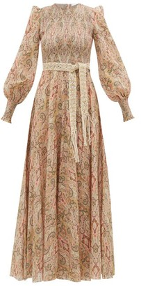 Zimmermann Freja Paisley-print Smocked Cotton Dress - Womens - Beige Print