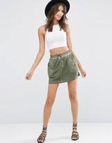 Asos Mini Skirt with Washed Woven Patch Pocket Detail