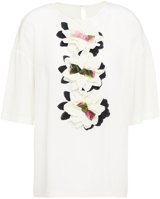 Dolce & Gabbana Floral-appliqued Silk-blend Crepe De Chine Top