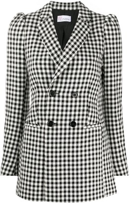 RED Valentino Check-Pattern Double-Breasted Blazer