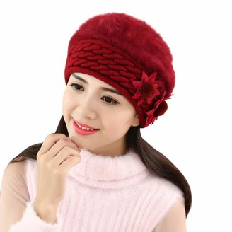 Women Beanie Hat Winter Warm Floral Cap Pure Colour Knitted Beret Hat Baggy Slouchy Ski Cap TOPEREUR