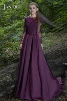 Janique - Lace Embellished Long Sleeve Bateau Neck Long A-line Gown 7516B