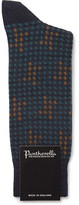 Pantherella Hopton Houndstooth Merino Wool-blend Socks - Midnight blue