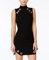 As U Wish Juniors' Textured Grommet-Trim Bodycon Dress