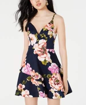 Speechless Juniors' Floral-Print Scuba Fit & Flare Dress
