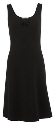 Dorothy Perkins Womens Black Plain Ruched Fit And Flare Dress, Black