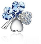 Sarah Dean Newyork Fashion Jewelry Women's 4 Leaf Clover Heart Shape Crystal Brooch Pin