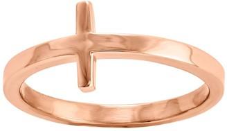 14K Gold Sideways Cross Ring