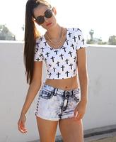 Forever 21 Studded Bleached Denim Shorts