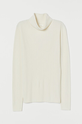 H&M Rib-knit Turtleneck Sweater - White