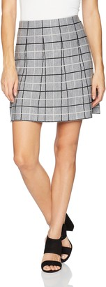 Minnie Rose Women's Stripped/Ruffled Plaid Mini Skirt
