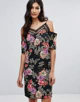 Daisy Street Floral Cold Shoulder Dress With Lace Neckline