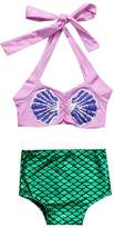 Charm Kingdom Baby Girls Strap Shell Top + Mermaid Shorts Swimsuit