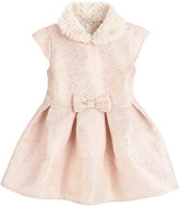 Petit Lem Fit-and-Flare Bow Dress w/Faux-Fur Collar, Off White, Size 5-7
