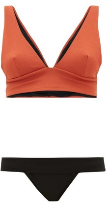 Haight Mismatched Crepe Bikini - Black Orange