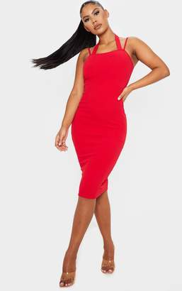 PrettyLittleThing Red Double Strap Halterneck Midi Dress