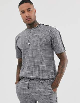 Good For Nothing co-ord oversized t-shirt in prince of wales check-Grey