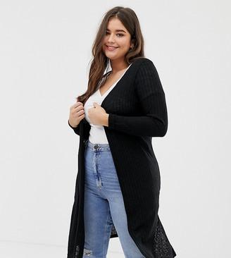 New Look Plus Curve midi cardi in black