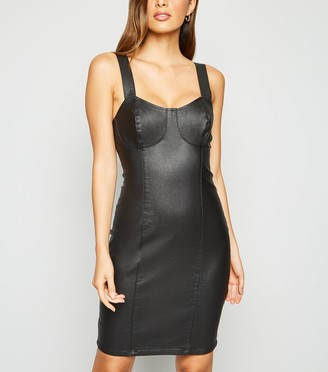 New Look Leather-Look Denim Bustier Bodycon Dress