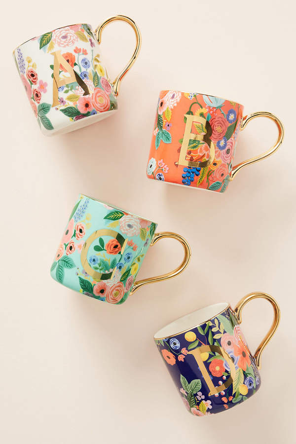 Rifle Paper Co. for Anthropologie Garden Party Monogram Mug By Rifle Paper Co. in Alphabet Size F