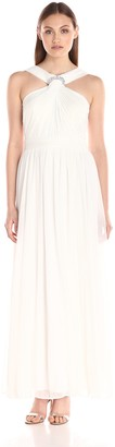 Alex Evenings Women's Long Halter Neckline Dress with Ruched Bodice Detail