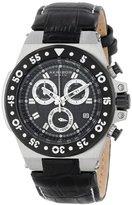 Akribos XXIV Women's AK667BKS Conqueror Swiss Quartz Chronograph Silver-tone Stainless Steel Black Leather Strap Watch