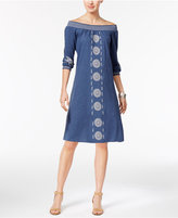 Style&Co. Style & Co Petite Cotton Embroidered Off-The-Shoulder Dress, Only At Macy's