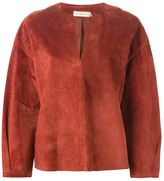 Tory Burch leather peasant blouse - women - Cotton/Calf Leather - 6