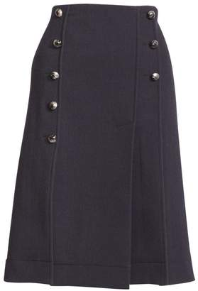 Chloé Pleated Pintuck A-Line Button-Front Skirt