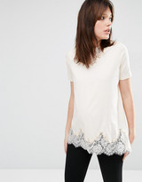 Asos Lace Mix Longline T-Shirt