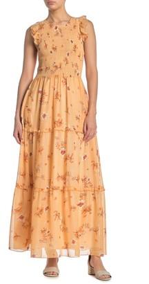 MelloDay Smocked Flounce Ruffle Sleeve Dress