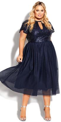 City Chic Sparkle Joy Dress - sapphire
