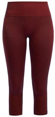Pepper & Mayne Margot Cropped Rib-knit Leggings - Womens - Dark Red