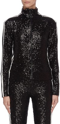 Norma Kamali Stripe outseam sequin embroidered high neck track jacket