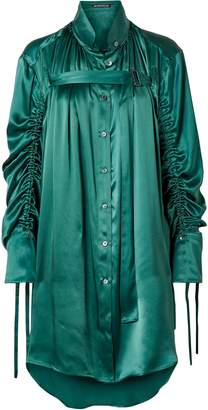 Ann Demeulemeester Oversized Ruched Silk-charmeuse Blouse