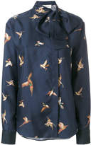 Mulberry pussybow bird patch shirt