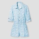 Art Class Girls' Long Sleeve Utility Romper Art Class - Blue/White
