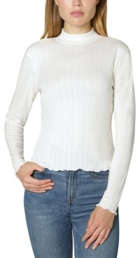 Ultra Flirt Juniors' Pointelle-Knit Mock-Neck Top