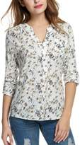 Meaneor Women Casual V Neck Roll Up Sleeve Floral Print High Low Hem Blouse Tops
