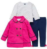 Little Me Baby Girls Three-Piece Double-Breasted Coat, Printed Top and Pants Set