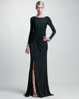 Long-Sleeve Bead-Cuff Gown