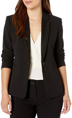 Tahari ASL Women's Petite Lace Combo One Button Jacket