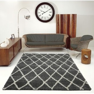 "Brayden Studio Lomax Geometric Black Area Rug Rug Size: Rectangle 5'2"" x 7'5"""
