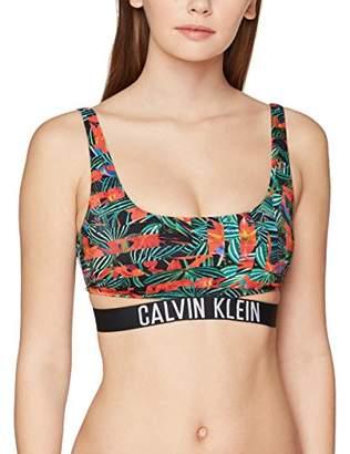 Calvin Klein Women's Strap Bralette-rp-Print Bikini Top,12 (Size: Medium)