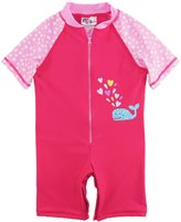 Sweet & Soft Little Girls Whale and Polka Dots 1-Piece Swimsuit Rashguard Romper, Pink