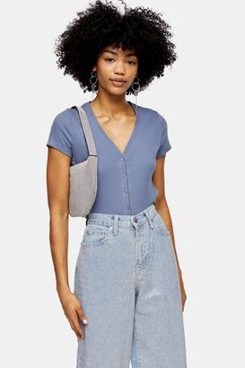 Topshop Blue Short Sleeve Button Cardigan