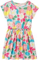 Gymboree Peach & Turquoise Floral Cap-Sleeve Dress - Girls