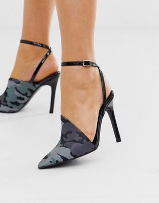 Asos Design DESIGN Photo pointed high heels in camo-Multi