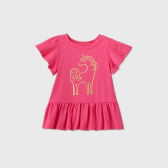 Cat & Jack Toddler Girls' Unicorn Short Sleeve T-Shirt - Cat & JackTM Dark